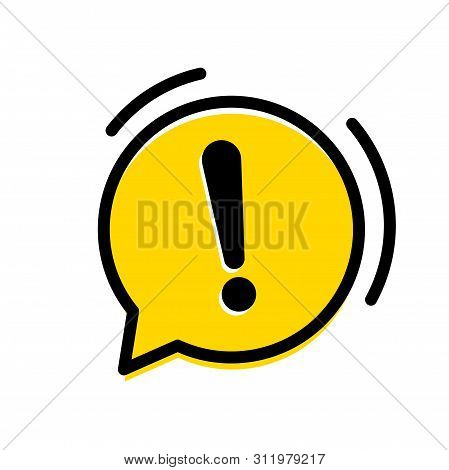 Attention, Warning Exclamation Mark Icon. Vector Yellow Chat Ring Alarm Bubble