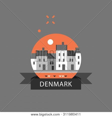 Denmark Travel Destination, Copenhagen Row Of Houses By Water, Nyhavn Street With Canal, Famous Land