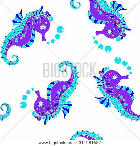 Seahorses Surface Pattern Vector, Seahorse Repeat Pattern For Textile Design, Fabric Printing, Stati