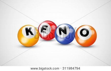 Keno Lottery 3d Balls. Vector Bingo Lotto Numbers Poster Background