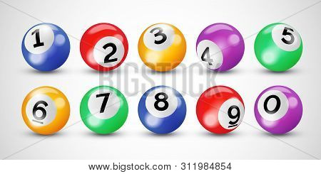 Bingo Lottery 3d Balls With Numbers. Vector Keno Lotto And Billiard Snooker Game Balls On Transparen