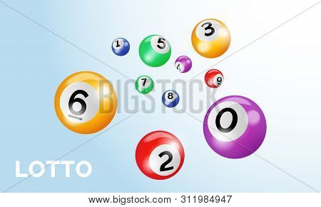 Bingo Lotto Balls With Numbers Vector Poster. Keno Lottery Gamble Game Background