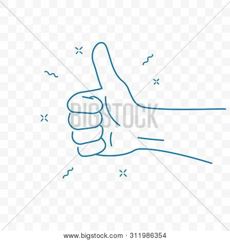 Thumb Up, Best And Ok Finger Gesture. Vector Sketch Doodle Line Icon
