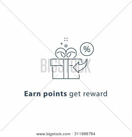 Earn Points And Get Reward, Loyalty Program, Give Away Concept, Incentive Gift, Vector Line Icon, Th