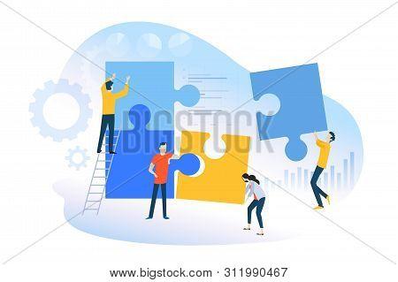 Flat Design Concept Of Teamwork, Team Building, Team Management. Vector Illustration For Website Ban