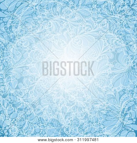 Fairy Blue Background With Boho Ornament Or Doodle Pattern. Blue And Withe Illustration With Space F