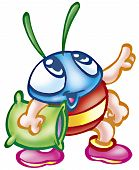 a digitally illustrated funny bug good for stationery products poster
