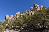 Rock formations and hoodoos occupy the hillsides in the Chiricahua National Monument in Southeastern Arizona. poster
