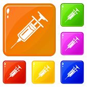 Injector icons set collection 6 color isolated on white background poster