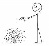 Vector cartoon stick figure drawing conceptual illustration of diviner or dowser searching for water in ground. poster