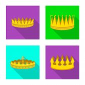 Isolated object of medieval and nobility icon. Set of medieval and monarchy vector icon for stock. poster