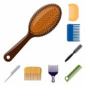bitmap illustration of brush and hair symbol. Set of brush and hairbrush stock symbol for web. poster