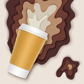 Coffee cup with papercut coffee splashes and shadows. Spilled coffee. Disposable takeaway paper coffee cup in realistic style poster