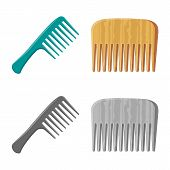 Vector illustration of brush and hair icon. Collection of brush and hairbrush vector icon for stock. poster