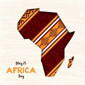 Africa Day greeting card illustration for 25 may celebration. African continent papercut map with traditional tribal art decoration. poster