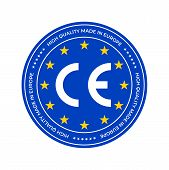 CE marking label, European Conformity certification mark stamp. Vector EU high quality stars certificate seal poster