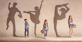 Future Famous Champions. Childhood And Dream Concept. Conceptual Image With Boy And Girls Dreaming A