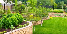 Landscaping In Home Garden. Beautiful Natural Landscape Design With Flower Beds In Summer. Panoramic