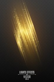 Light Effect Of Golden Abstract Random Neon Lines Isolated On Transparent Background. Glowing Motion