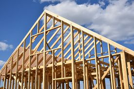 Wood Frame Residential Building Under Construction.building Construction, Wood Framing Structure At