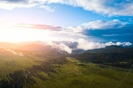 Amazing View On Green Mountains From A Viewpoint. Panorama Of The Mountains  In Altai On A Summer Cl
