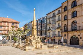 Soria,spain - May 12,2019 - Leon Fountain At The Mayor Place In Soria. Soria Is The Second Highest P