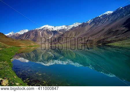 Chandratal Lake Is A High Altitude Lake In Spiti Valley, India. Also Known As Lake Of The Moon, Hima