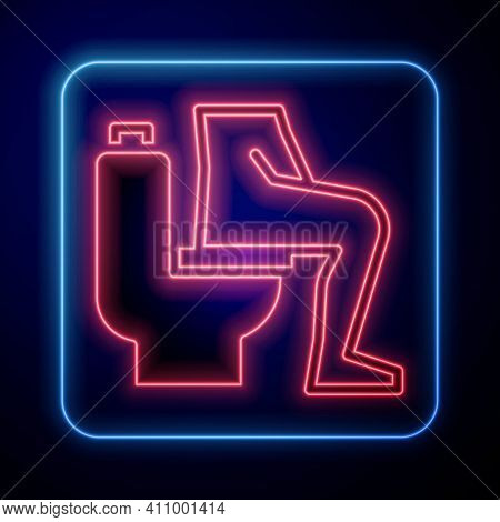 Glowing Neon Men Sitting On The Toilet And Constipation Are Experiencing Severe Abdominal Pain Icon