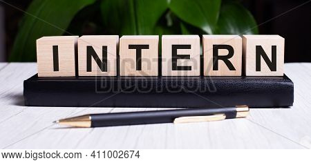 The Word Intern Is Written On The Wooden Cubes Of The Diary Near The Handle.