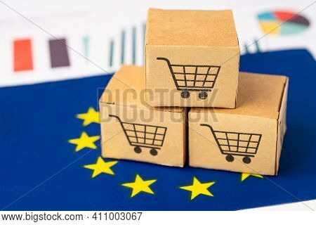 Box With Shopping Cart Logo And Eu Flag, Import Export Shopping Online Or Ecommerce Finance Delivery