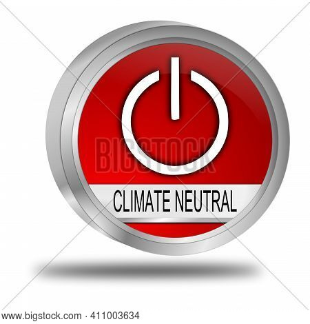 Climate Neutral Button Red - 3d Illustration