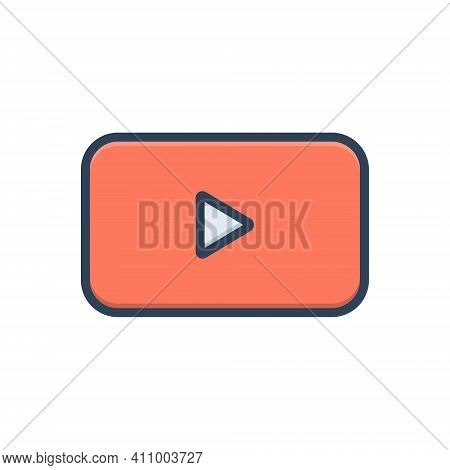 Color Illustration Icon For Button Music Player Begin Action Click Record Play Press Start