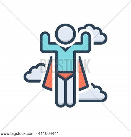 Color Illustration Icon For Super Super-hero Hero Brave Cape Man Caricature Flying Lifeguard