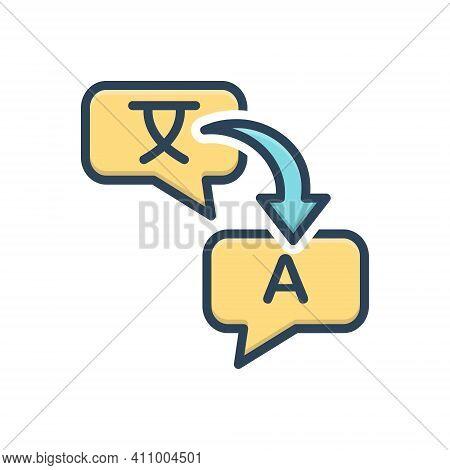 Color Illustration Icon For Translate Render Retranslate Interpret Explain Clarify Convert Decode Di