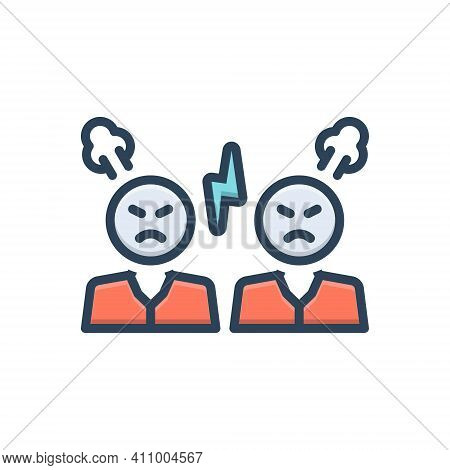 Color Illustration Icon For Argue Hostility Enmity Resistance Opposite Infer Reason Dissertate Fight