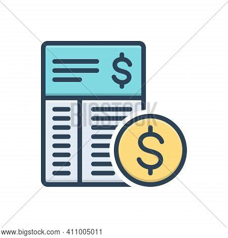 Color Illustration Icon For Expense Expenditure Outgoings Calculation Cost Value Price Amount Budget