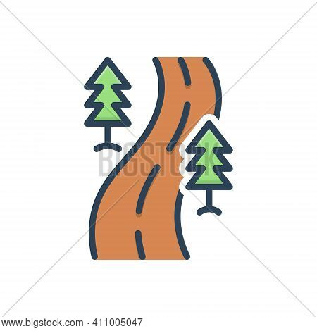 Color Illustration Icon For Road Street Roadway Driveway Highway Path Walkway Route Journey Navigati