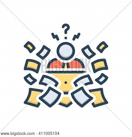 Color Illustration Icon For Trouble  Difficulty Problems Issues Bother Hardship Over-work Work Stres