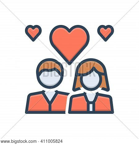 Color Illustration Icon For Romantic Couple Heart Fall-in-love Engaged Love Emotion Dating Lovers Re