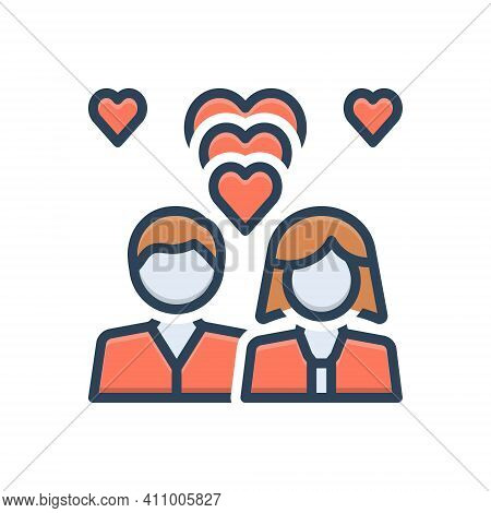 Color Illustration Icon For Romantic Couple Heart Fall-in-love Love Emotion Dating Lovers Relationsh