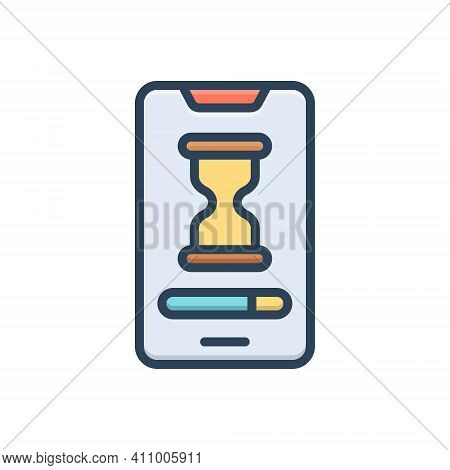Color Illustration Icon For Slow Electronic Connection Display Sandglass Accuracy Unhurried Stilly U