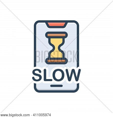Color Illustration Icon For Slow Electronic Connection Sandglass Accuracy Unhurried Stilly Update In
