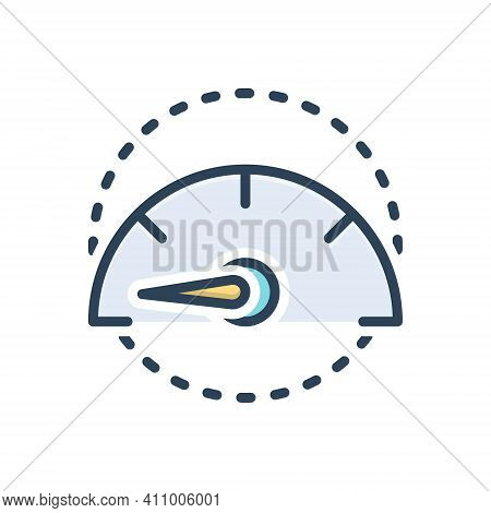 Color Illustration Icon For Slowly Slow Unhurried Stilly Accelerate Gauge Speedometer Indicator Test