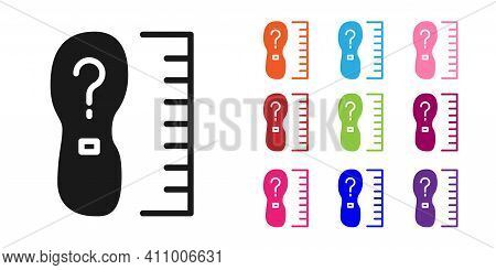 Black Square Measure Foot Size Icon Isolated On White Background. Shoe Size, Bare Foot Measuring. Se