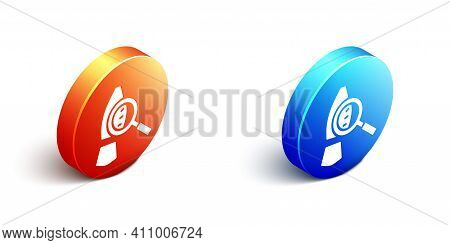 Isometric Magnifying Glass With Footsteps Icon Isolated On White Background. Detective Is Investigat