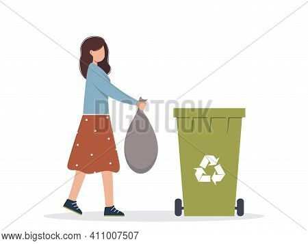 Waste Recycling. Trash Recycling. A Young Woman Is Sorting Waste. A Female Character Throws Trash In