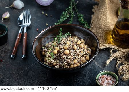 Vegetable Lunch From The Buddha Bowl With Quinoa Salad With Chickpeas And Thyme. Super Food, Healthy
