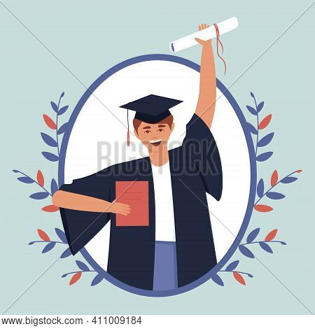 Happy Teenage Boy Graduated From Educational Institution. Close-up Of A Guy In A Black Dress And A G