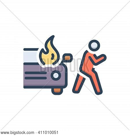 Color Illustration Icon For Sudden Unexpected Incident Accident Burning Danger Explosion Extinguish