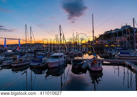 View Of The Harbor Of Torquay At Colorful Sunset., Devon, England